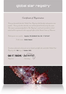 Your star certificate
